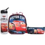 Kit Escolar Lancheira + Estojo Simples + Garrafa Dermiwil Carros Piston Cup (51811+51812+51813)