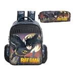 Kit Escolar Mochila 16 + Estojo Xeryus Batman Gothan Guardian (7592+7596)