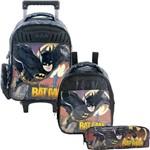 Kit Escolar Mochilete + Lancheira + Estojo Xeryus Batman Gothan Guardian (7590+7594+7596)