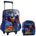 Kit Escolar Superman Mochilete e Lancheira Azul