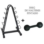 Kit Expositor Halteres 5 Pares com Pesos (30kg)