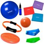 Kit 3 Faixas Elasticas + Bola 65 Cm + Mini Bomba + 2 Mini Bands + Overball + Arco e Disco Liveup
