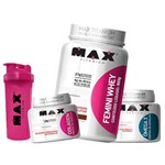 Kit Femini Whey 900g + Colageno + Omega 3 + Coqueteleira Max Titanium