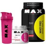 Kit Feminino Whey Pro 1kg + Colageno + Coqueteleira Max Titanium