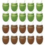 Kit Festa Moana 10 Copos Coco Verde + 10 Copos Coco Marrom Injetemp