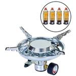 Kit Fogareiro Compacto com Sistema de Regulagem Apolo Nautika + 4 Cartuchos de Gás Campgás