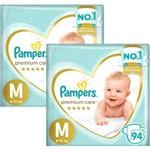 Kit Fralda Pampers Premium Care Top Tamanho M 188 Unidades