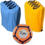 Kit Futsal Bola Vitoria Oficial Costurada Coletes com Viés