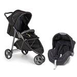 Kit Galzerano Carrinho de Bebê Até 15kg Cross Black + Bebê Conforto Até 13kg Cocoon Preto/grafite