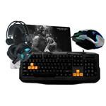 Kit Gamer Blackbird One - Teclado + Fone + Mouse + Mouse Pad