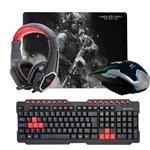 Kit Gamer Crow - Teclado + Mouse + HeadPhone + MousePad