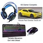 Kit Gamer Teclado Bk-g31 + Mouse 7d + Fone Gh-x30 + Mousepad Pro