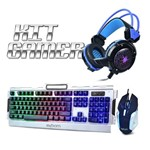 Kit Gamer Teclado e Mouse Metal BK-G3000 Prata + Headfone Game GH-X30 Azul - Infokit