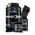 Kit Ganho de Massa - Black Skull - Whey 3 HD 900g + Bcaa 2400 + Creatine 150g + Coq