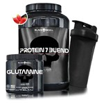 Kit Ganho de Massa Muscular Black Skull - Protein 7 Blend + Glutamina + Coqueteleira - Black Skull