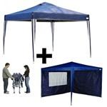 Kit Gazebo Tenda Azul Praia/Campo Base e Topo 3M X 3M Altura 2,50M Dobrável + 2 Paredes em Oxford Mandiali