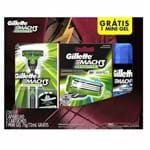 Kit Gillette Mach3 Sensitive Aparelho de Barbear + 2 Cargas Grátis Mini Gel 71g