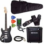 Kit Guitarra Canhoto Phx St-h Lh Preto Cubo Meteoro Afinador