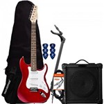 Kit Guitarra Econômico G-100 Vermelha Giannini + Cubo + Correia + Cabo + Capa