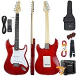Kit Guitarra Elétrica Strato G100 Trd/wh Translucent Red Giannini + Cubo Mg10
