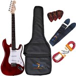 Kit Guitarra Elétrica Strato G100 Trd/Wh Translucent Red Giannini