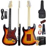 Kit Guitarra Elétrica Strato G100 3ts/tt Sunburst Giannini + Cubo Mg10