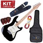 Kit Guitarra Elétrica Strato Sts100 Bk Preto Strinberg Completo