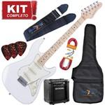 Kit Guitarra Elétrica Strato Sts100 Wh Branca Strinberg + Cubo Mg10
