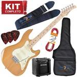 Kit Guitarra Elétrica Strato Sts150 na Natural Strinberg + Cubo Mg10