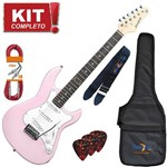 Kit Guitarra Elétrica Stratocaster Egs216 Mpk Rosa Strinberg Completo