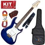 Kit Guitarra Elétrica Stratocaster Egs216 Tbl Azul Strinberg Completo