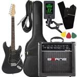 Kit Guitarra Giannini G102 Preto Cubo Borne Afinador