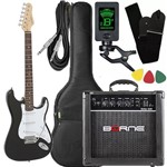 Kit Guitarra Giannini G100 Preto Branco Cubo Borne Afinado