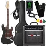 Kit Guitarra Giannini G100 Preto Vinho Cubo Borne Afinador