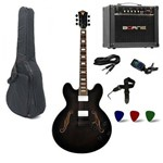 Kit Guitarra PHX Ac-01 Preta + Amplificador + Acessorios