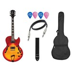 Kit Guitarra Semi Acústica Waldman Ghs 250 Cv Capa Palheta