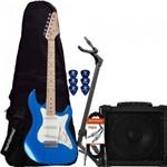 Kit Guitarra Strato Sts-100 Azul Strinberg + Capa + Suporte + Acessórios