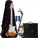 Kit Guitarra Strato Sts-100 Sunburst Strinberg + Cubo + Acessórios