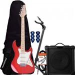 Kit Guitarra Strato Sts-100 Vermelha Strinberg + Capa + Suporte + Acessórios