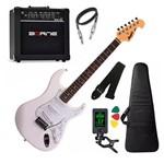 Kit Guitarra Tagima Mg32 Branca Cubo Borne Afinador Capa