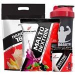 Kit - Hard Mass 3000g Banana com Maça + Malto Dextrin 1000g Guarana C/ Açaí + Creatine 70g + Coqueteleira - BodyAction