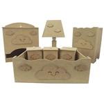 Kit Higiene Bebê em MDF Nuvens 7 Peças com Abajur - Palácio da Arte