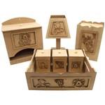 Kit Higiene Bebê em MDF Safari Bacana 7 Peças com Abajur - Palácio da Arte