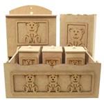 Kit Higiene Bebê em MDF Ursinho Carinhoso 6 Peças - Palácio da Arte