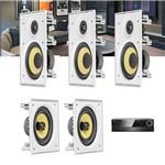 Kit Home Theater 5.0 JBL Receiver AVR 1010 + Caixa de Embutir Teto CI6R + CI6S Residencial Gesso
