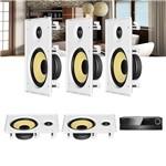 Kit Home Theater 5.0 JBL Receiver AVR 1010 + Caixa de Embutir Teto CI8R Residencial Gesso