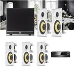 Kit Home Theater 5.1 JBL Receiver AVR 1010 + Caixa de Embutir Teto CI8R + Sub 100 Residencial Gesso