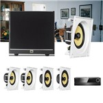 Kit Home Theater 5.1 JBL Receiver AVR 1010 + Caixa Embutir CI8SA + CI8S + Sub 100 Residencial Gesso