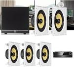 Kit Home Theater 5.1 JBL Receiver AVR 1010 + Caixa Embutir Teto CI8S + Sub 100 Residencial Gesso