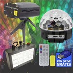 Kit Iluminação para Festa DJ Balada Globo de Luz Laser e Strobo - Produtos BIVOLT Automático